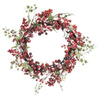 Red Berry Artificial Christmas Wreath D42 Baies Rouges