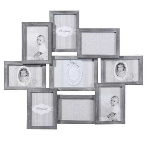 RELIEF wooden 9 photo frame in grey 50 x 58cm
