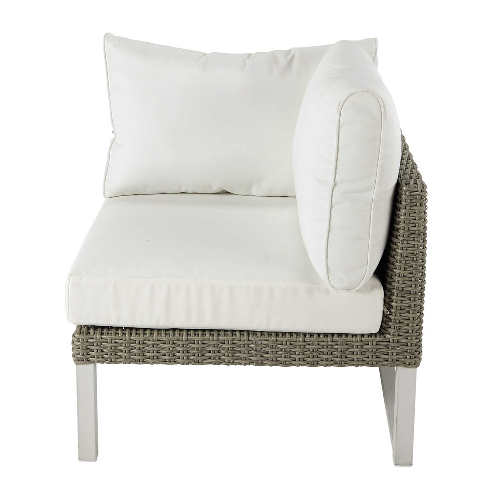 Right armrest garden sofa unit in white wicker