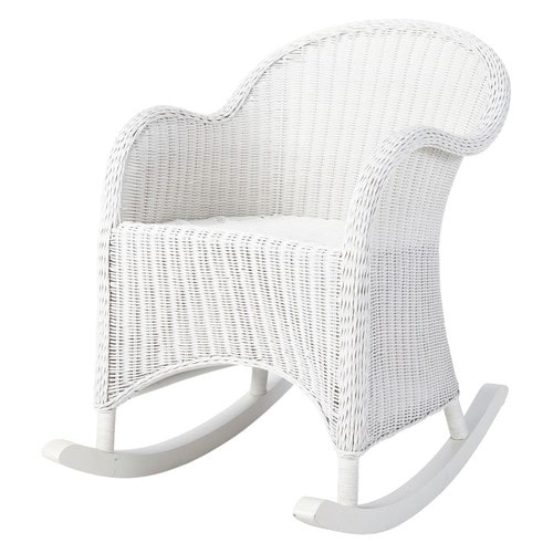 Rocking chair enfant en rotin blanc oc an maisons du monde for Rocking chair blanc chambre bebe