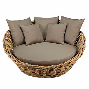 Round garden sofa in rattan with taupe cushions