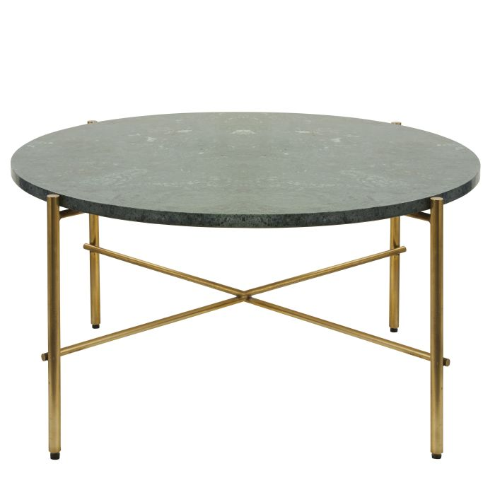 Round Green Marble And Brass Metal Coffee Table