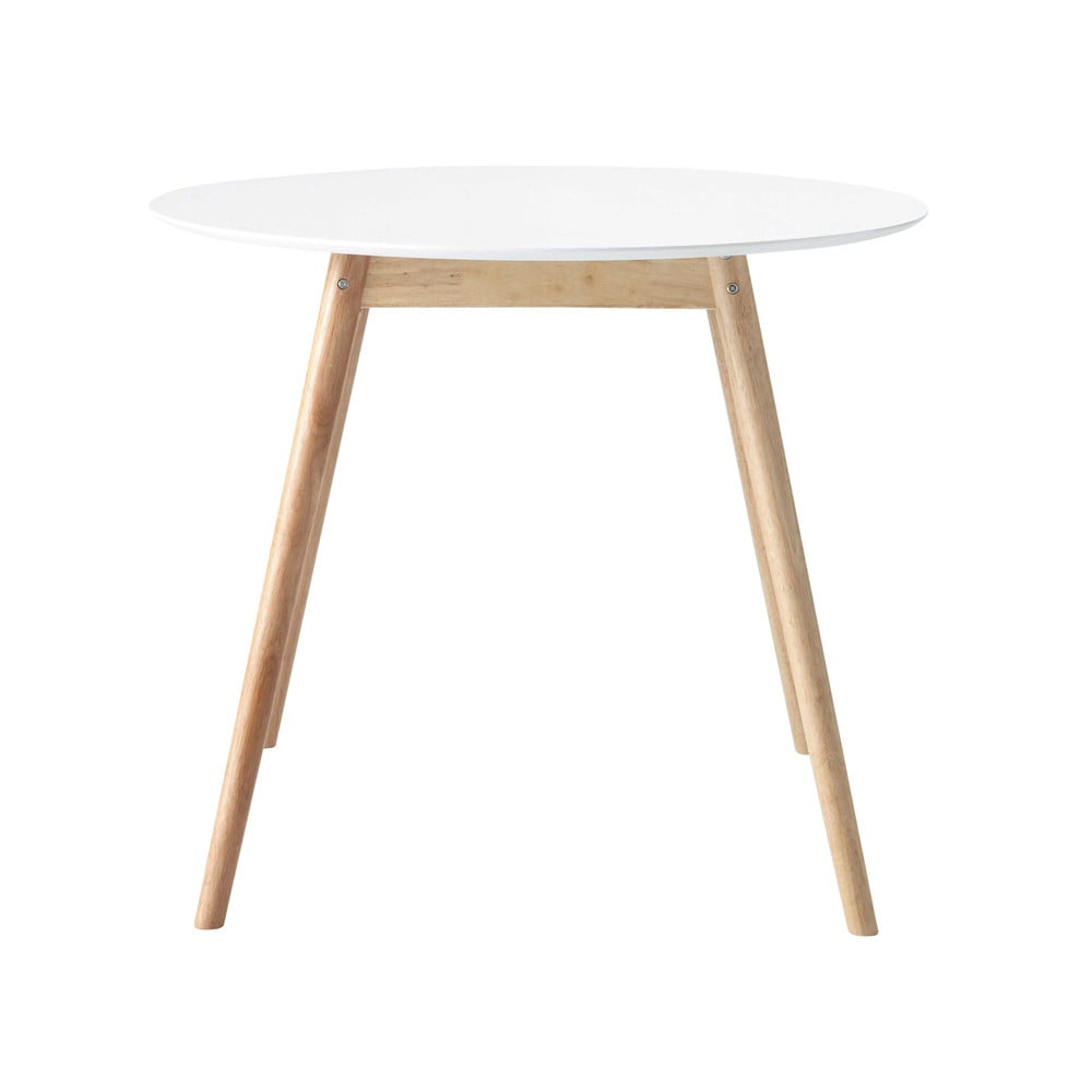Rubber tree wood round dining table in white D 90cm