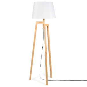 ... Rubber Wood Tripod Floor Lamp With White Fabric Lampshade H150 ...