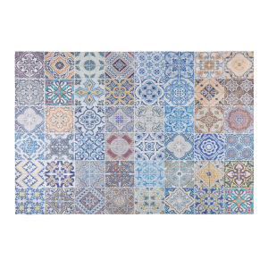 Rug with multicoloured cement tile motifs 140 x 200