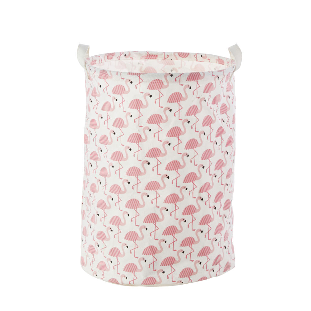 Sac de rangement en coton motif flamant rose (photo)