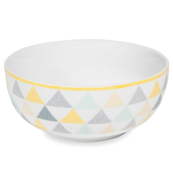 Saladier en porcelaine blanche à triangles LEMON