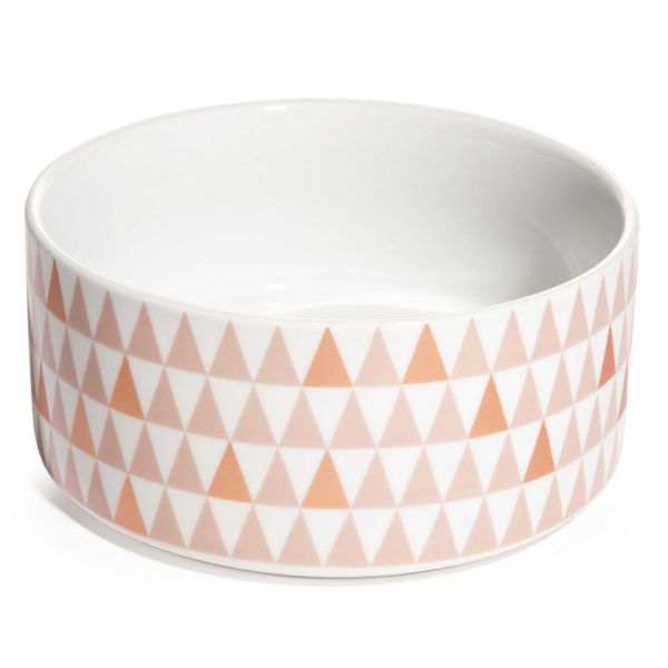 Saladier motif triangles en porcelaine D 19 cm COPPER