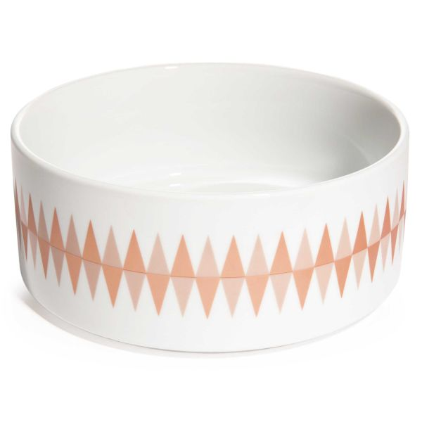 Saladier motif triangles en porcelaine D 24 cm COPPER