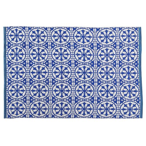 Santorin pvc outdoor rug in blue and white 160 x 230cm for Tappeti kilim ikea