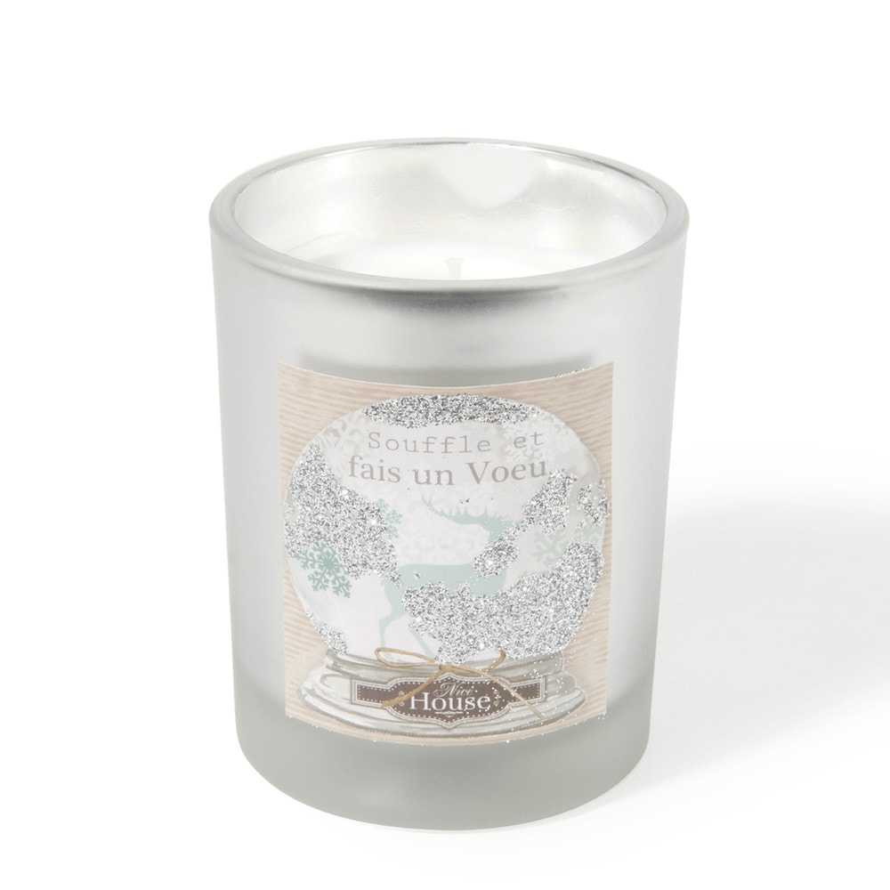 Scented Candle in Glass Holder with Christmas Motifs