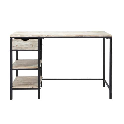 schreibtisch im industrial stil aus massivholz b 120 cm. Black Bedroom Furniture Sets. Home Design Ideas