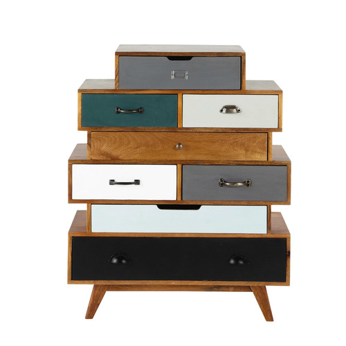 semainier vintage en manguier massif multicolore l 86 cm. Black Bedroom Furniture Sets. Home Design Ideas