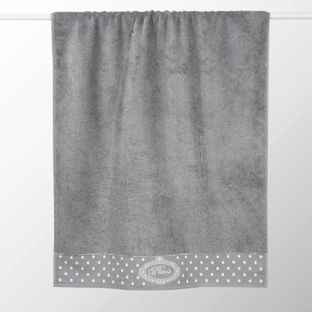 Serviette de bain en coton grise 50x100 PARIS (photo)