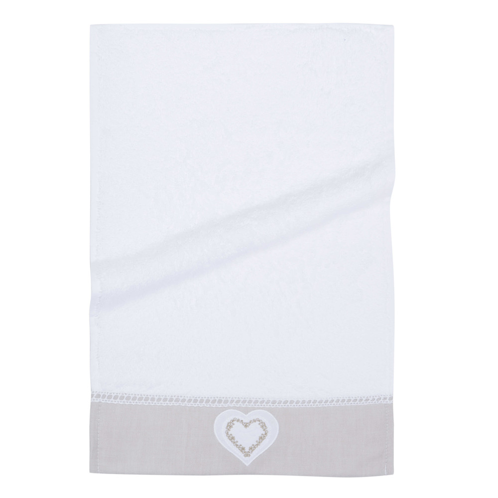 Serviette de toilette en coton blanc 30x50 HEART (photo)
