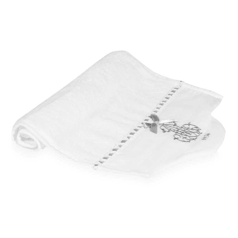 Serviette de toilette en coton blanc 30x50 SIÈCLE (photo)