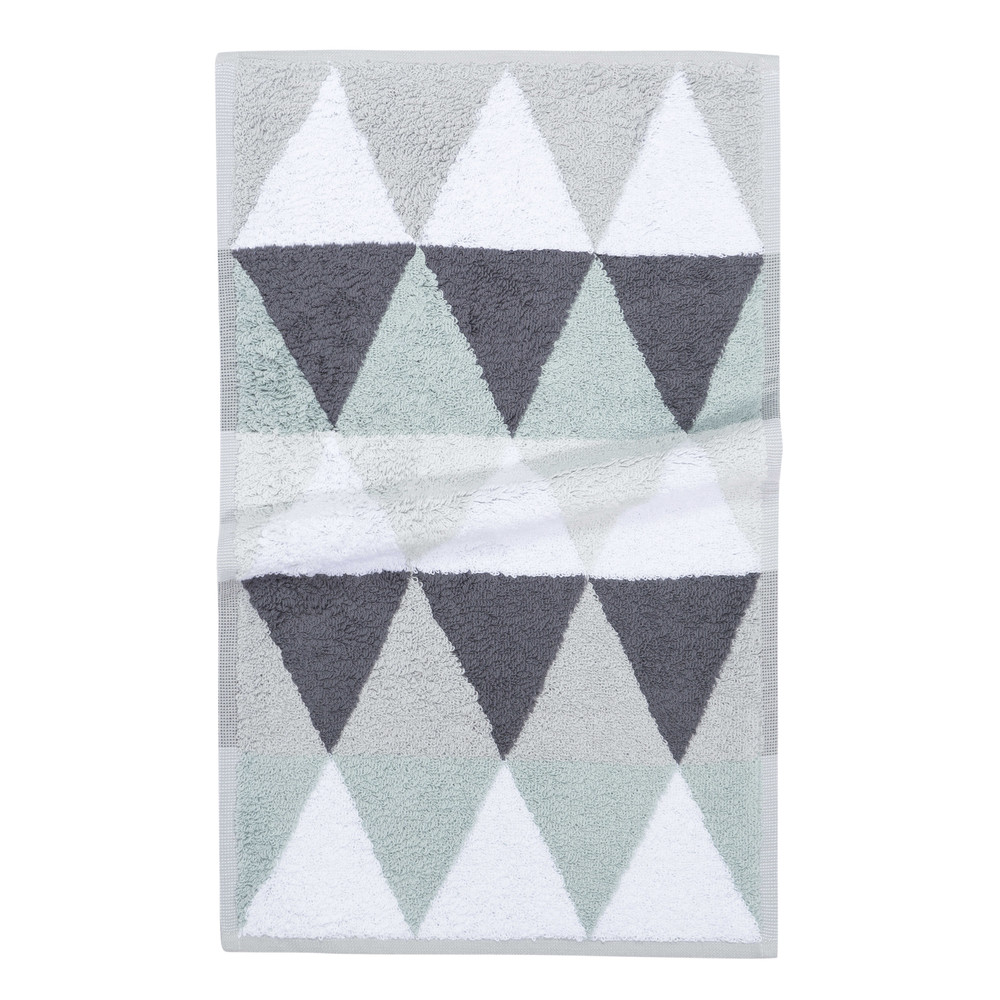 Serviette de toilette en coton blanche/grise 30x50 TRIANGLE (photo)