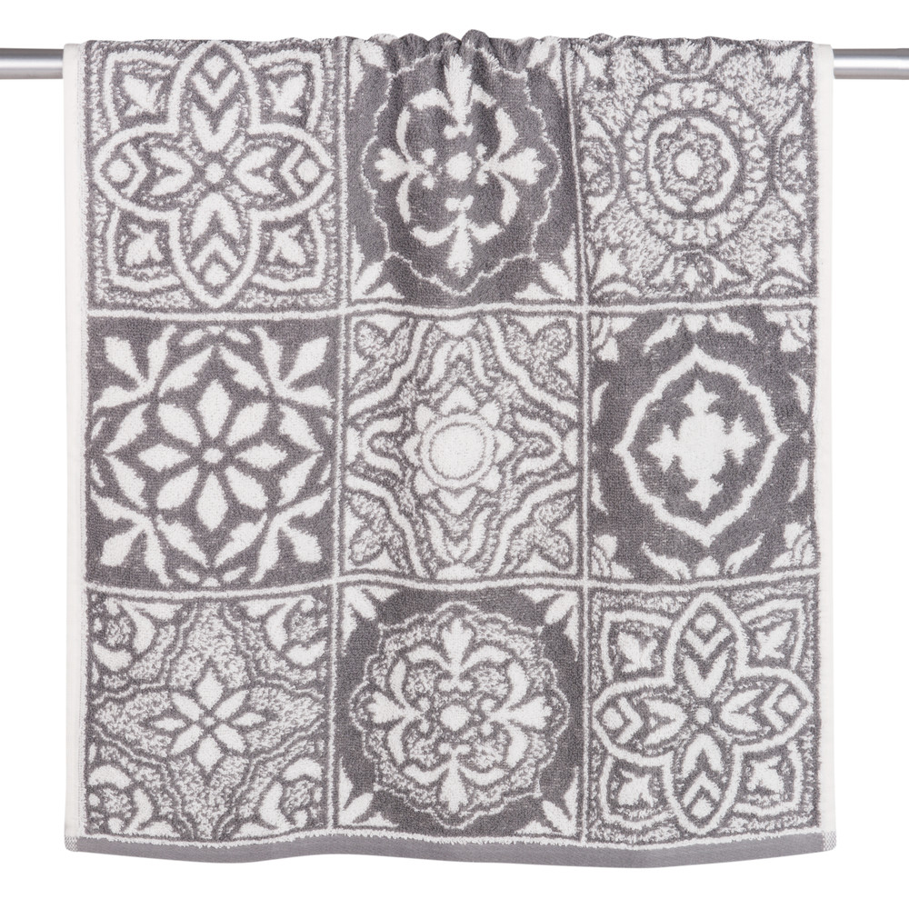 Serviette en coton motifs carreaux de ciment 50x100 (photo)