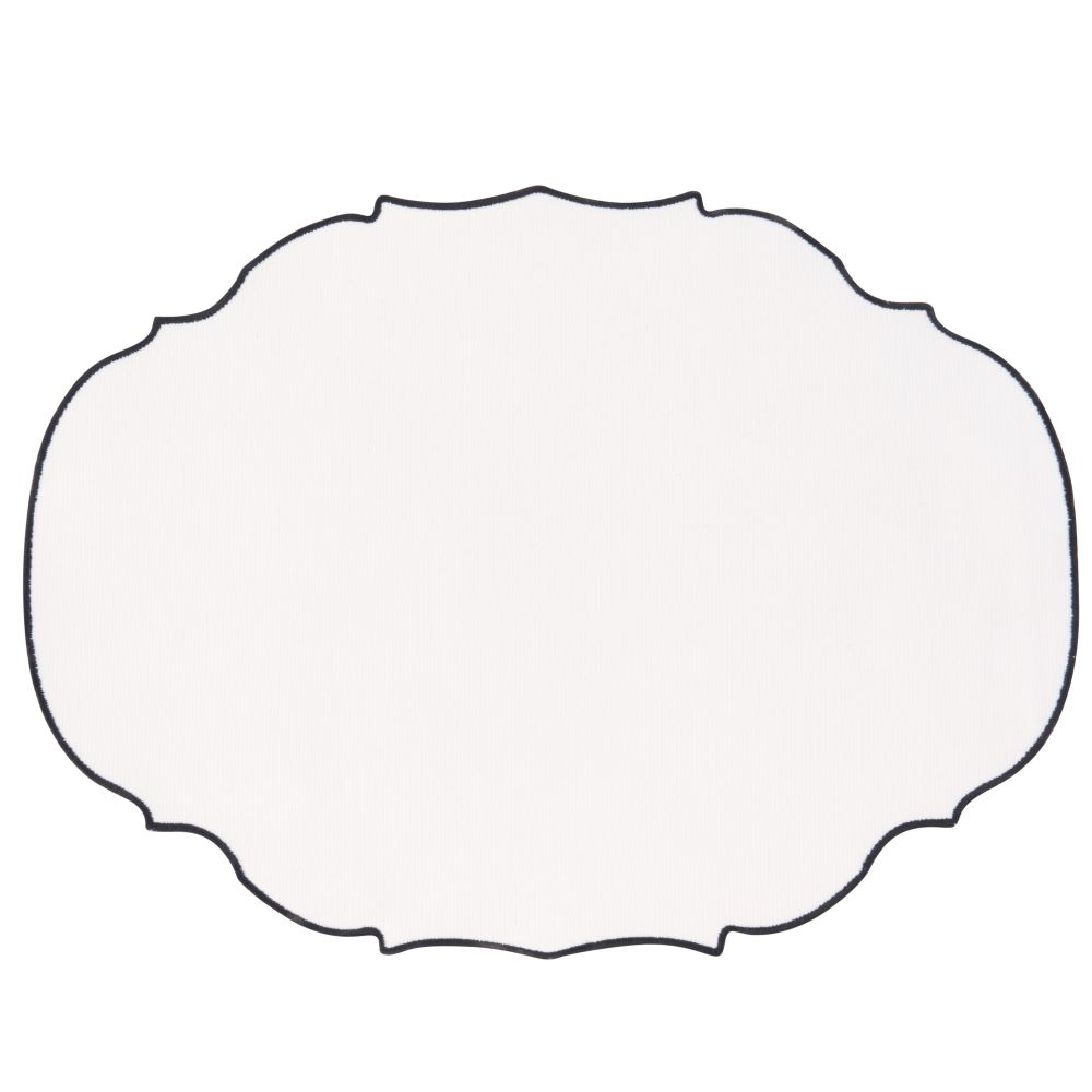 Set de table en coton blanc bordure bleue