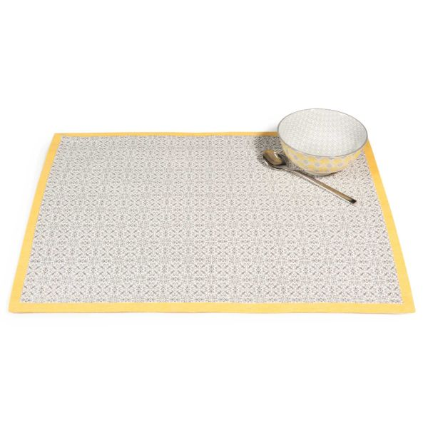Set de table en coton gris/jaune 33 x 45 cm VIZELA