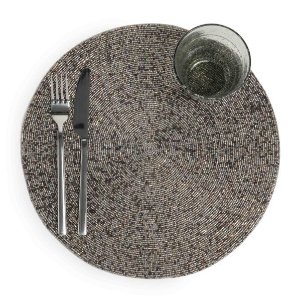 Set de table rond coloris hématite D 33 cm PERLE