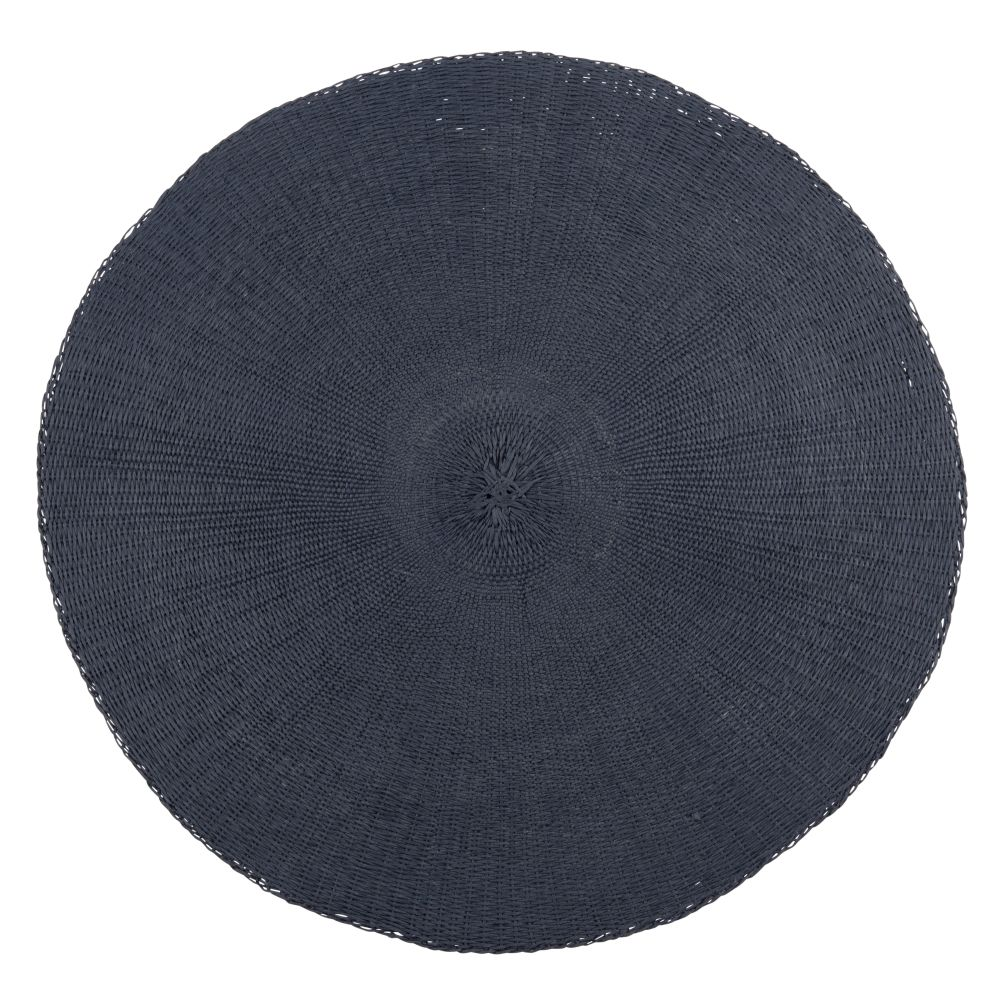 Set de table rond en papier bleu marine