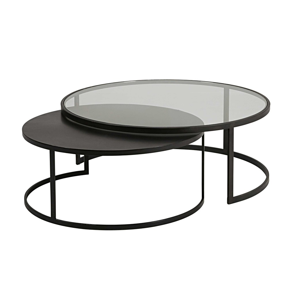 Set of 2 tempered glass and black metal nest of coffee tables