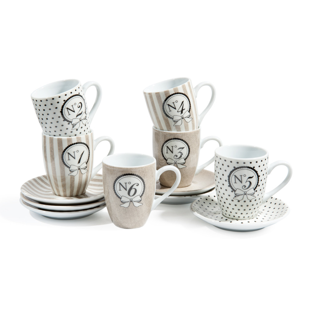 Set of 6 MODE porcelain coffee cups and saucers in beige