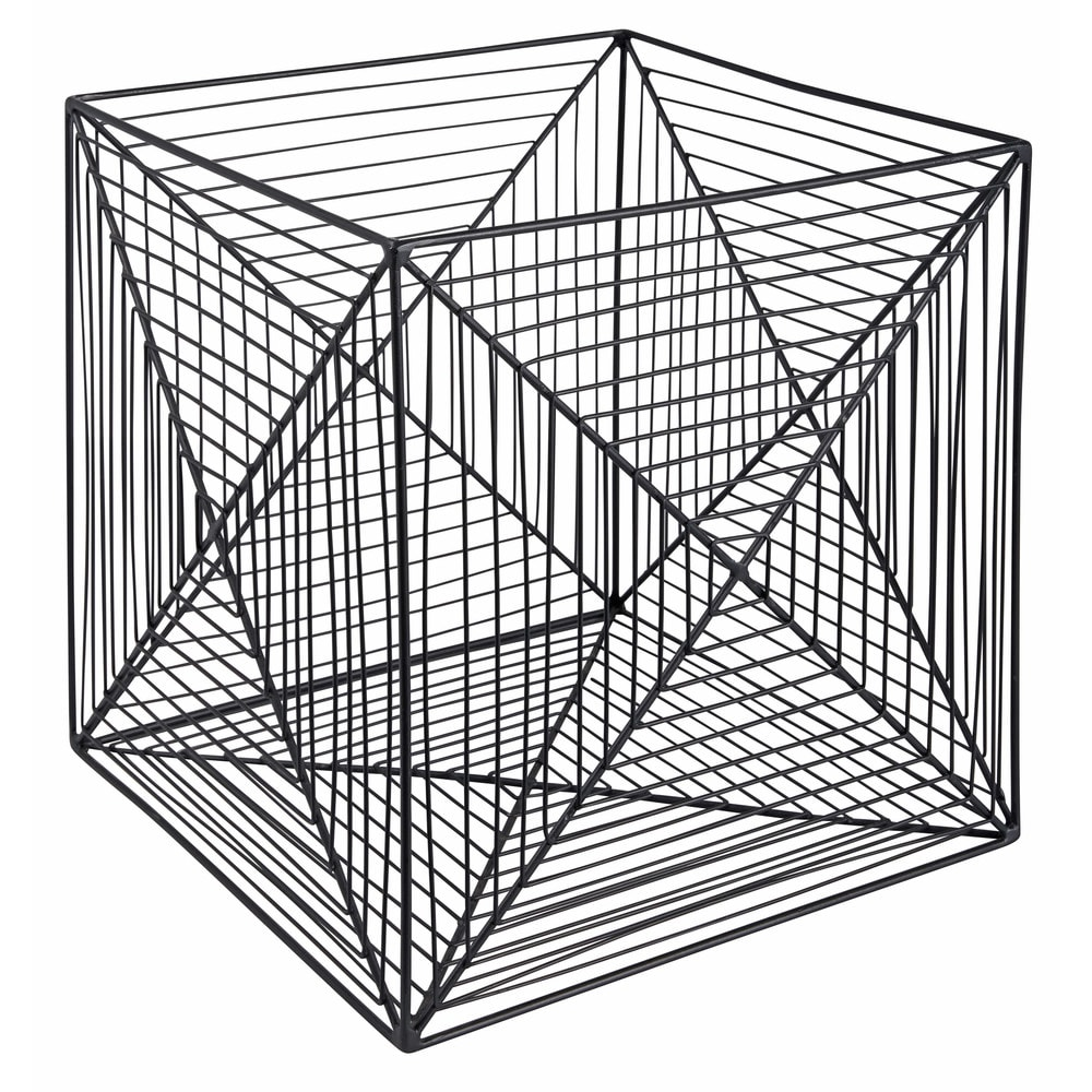 Side table in black metal wire CUBE