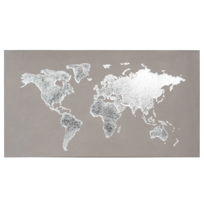 Grey World Map Canvas X Maisons Du Monde - Grey world map canvas