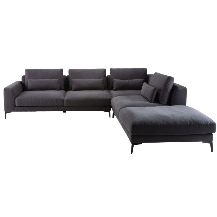 Slate Grey 6-Seater Cotton and Linen Right-Hand Corner Sofa