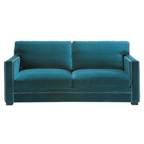 sofa 3 4 sitzer aus samt blau dandy maisons du monde. Black Bedroom Furniture Sets. Home Design Ideas