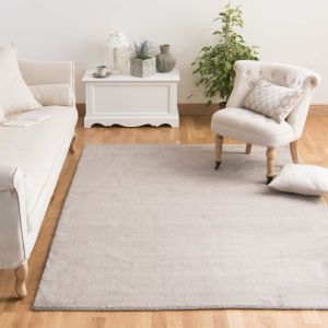 SOFT woollen low pile rug in light taupe 160 x 230