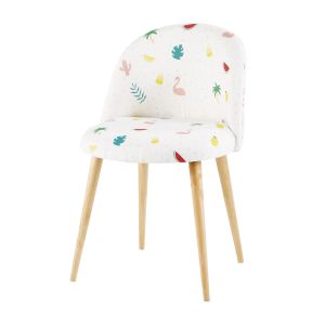 Solid Birch and White Vintage Chair with Tropical Print