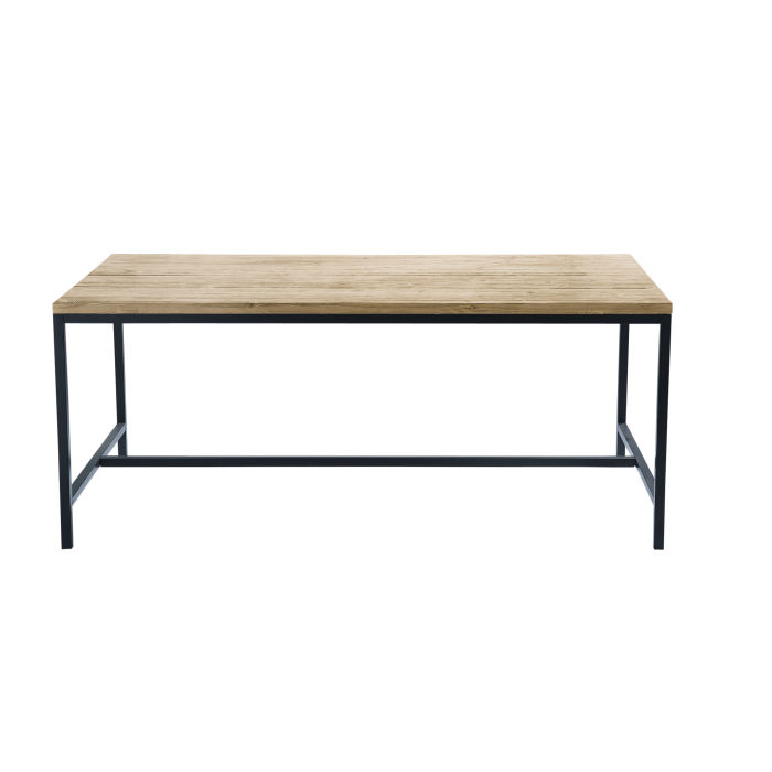 Solid Fir and Metal Industrial 8-Seater Dining Table W178