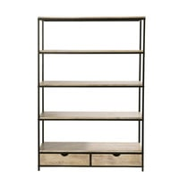 Solid Fir and Metal Industrial Shelf Unit