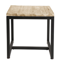 Solid Fir and Metal Industrial Side Table in Whitewash Finish Long Island