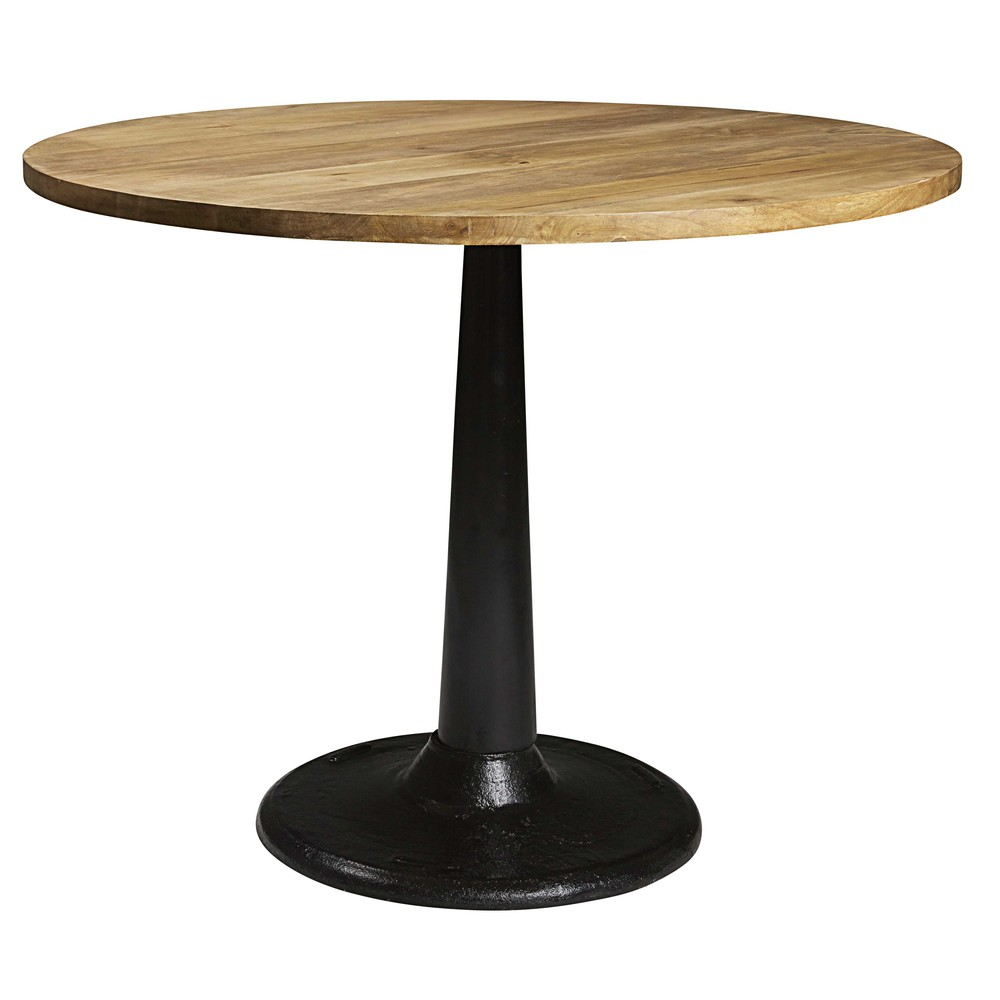 Solid mango wood and black metal dining table L 115 cm