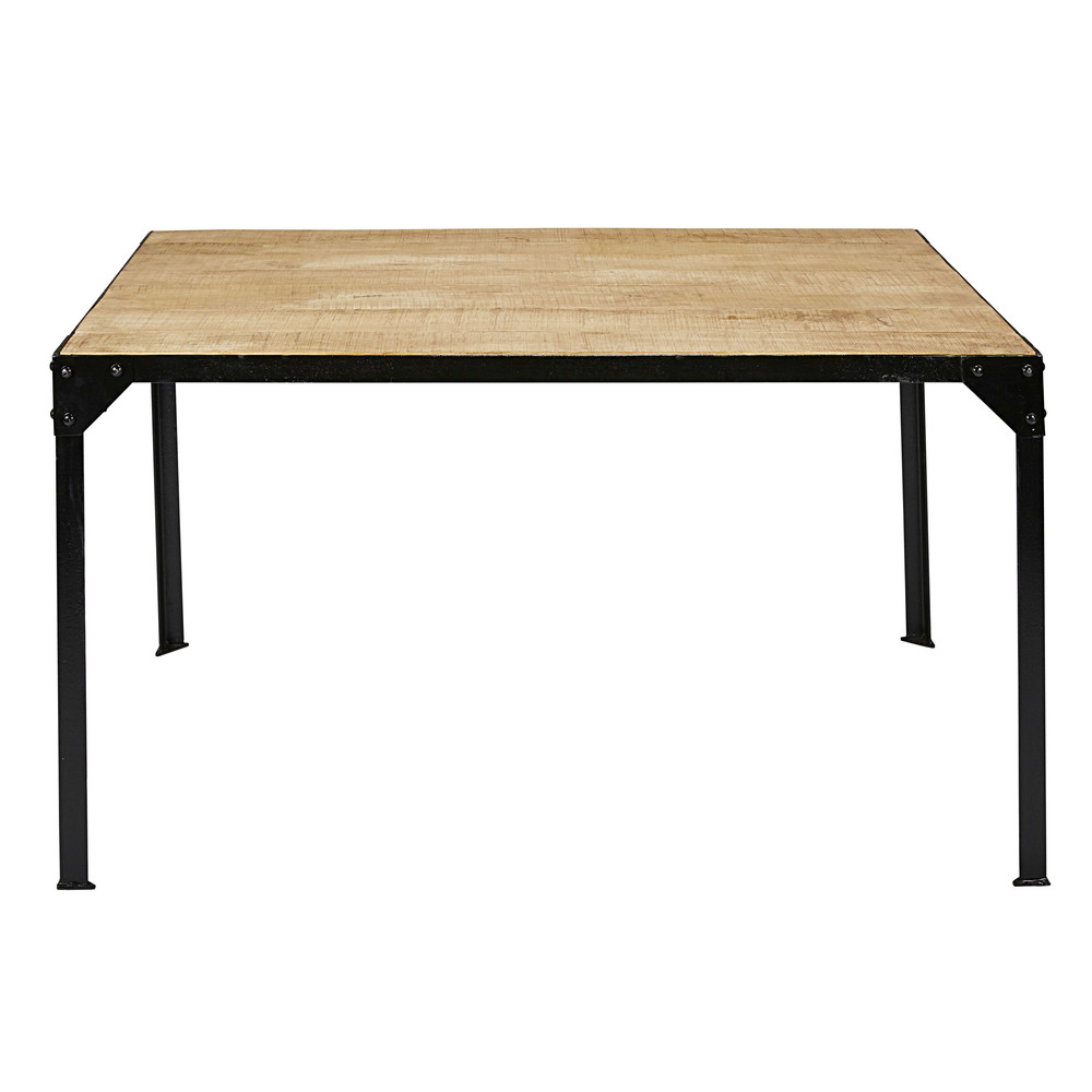 Solid mango wood and black metal dining table L 140 cm