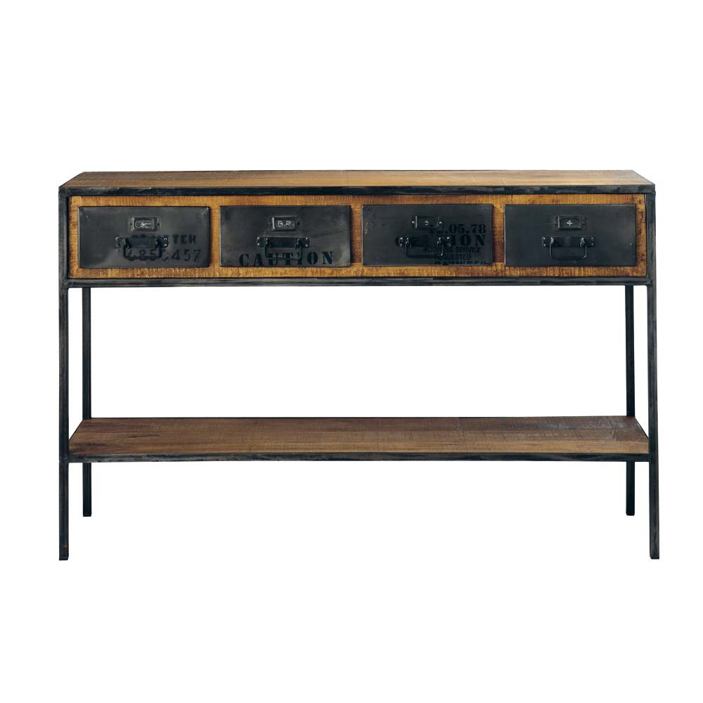 Solid Mango Wood and Black Metal Industrial Console Table | Maisons ...