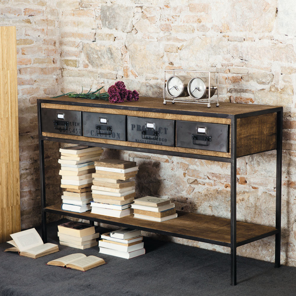 Solid Mango Wood and Black Metal Industrial Console Table Maisons