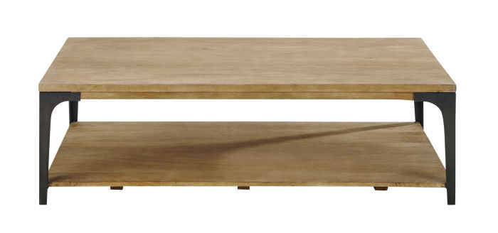 Solid Mango Wood And Metal Coffee Table