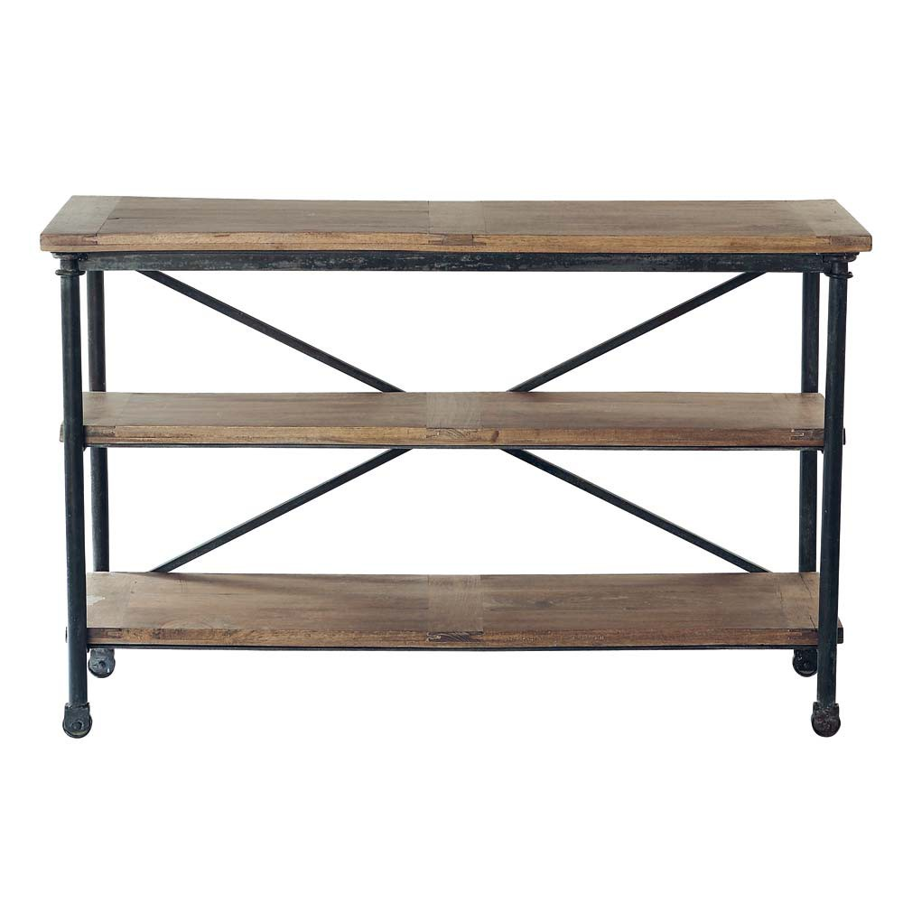 best solid mango wood and metal console table on castors w cm maisons du monde with desserte. Black Bedroom Furniture Sets. Home Design Ideas