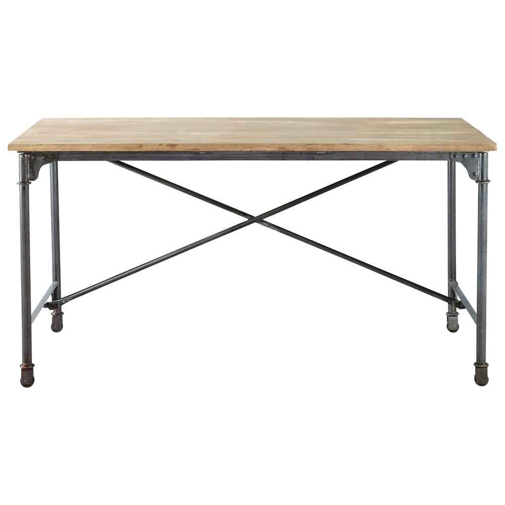 Solid mango wood and metal dining table W 170cm
