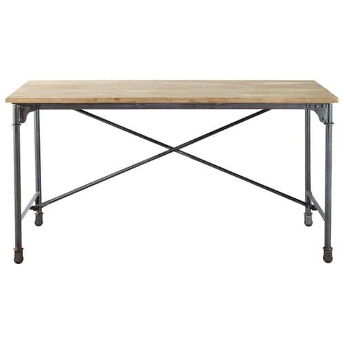 Solid mango wood and metal dining table w 170cm archibald maisons du monde - Maison du monde table ...