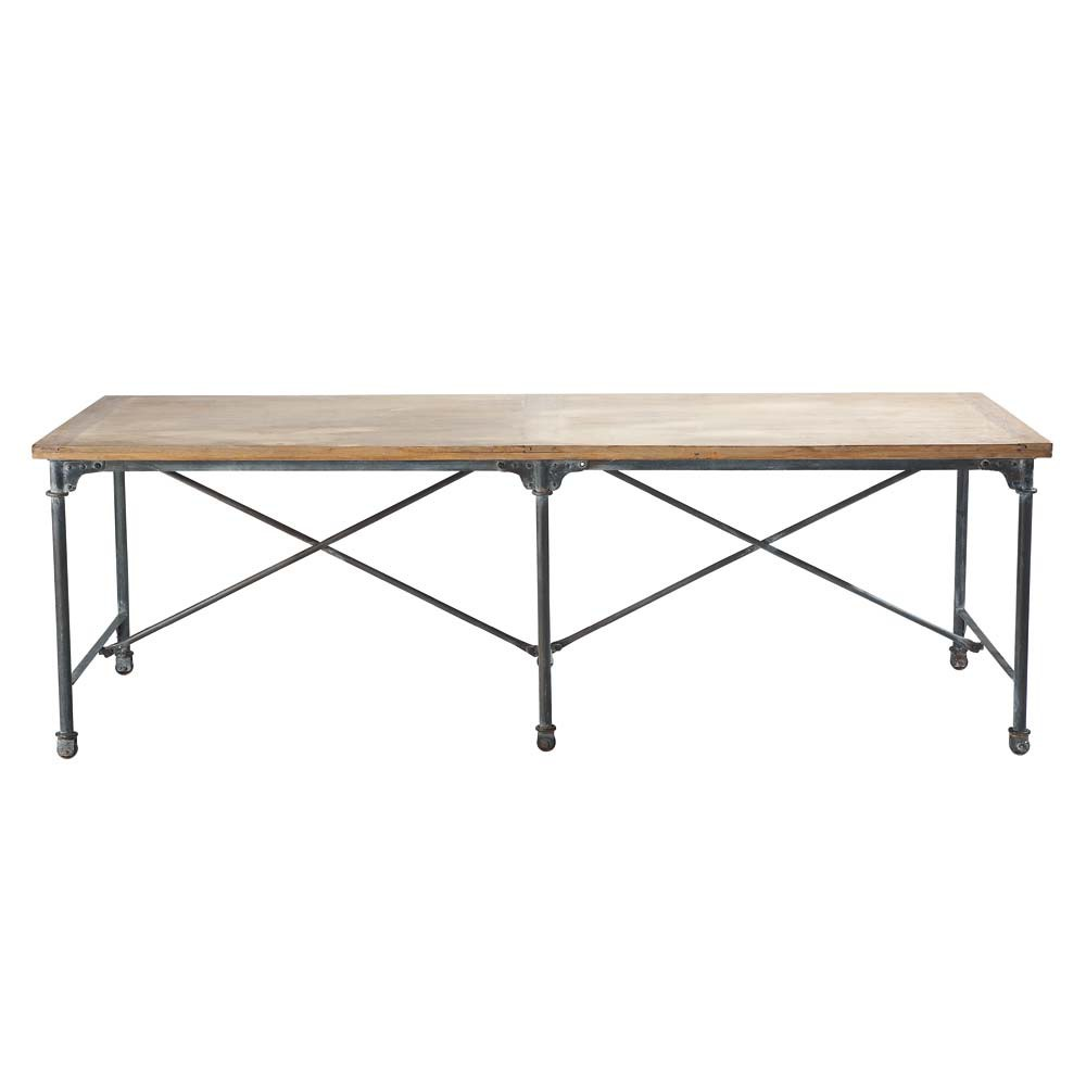 Solid mango wood and metal dining table W 240cm