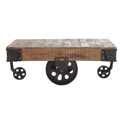 Solid mango wood and metal industrial coffee table on for Pietement table metal