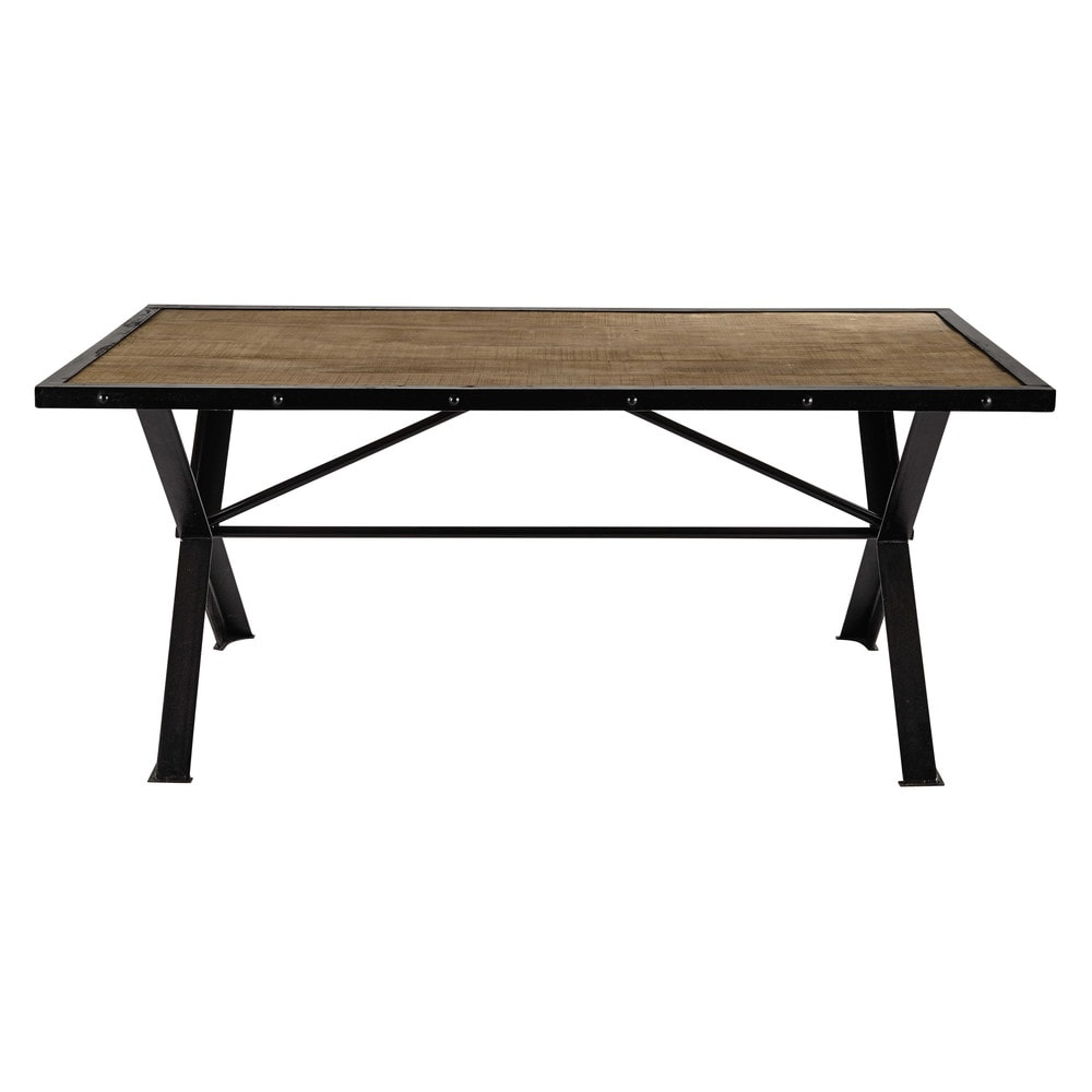 Solid mango wood and riveted metal dining table L 180cm