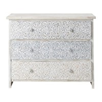 Solid mango wood carved Indian chest of drawers in white W 100cm Namaste