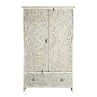 Solid mango wood wardrobe in white and silver Namaste